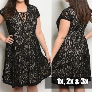 BLACK LACE PLUS SIZE NUDE UNDERLY DRESS